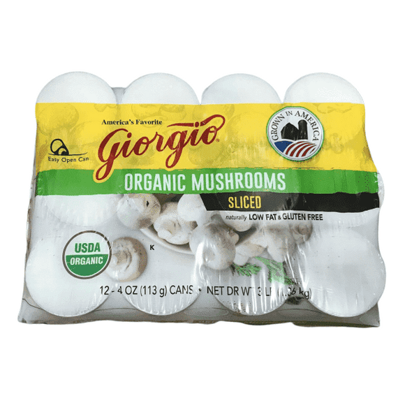 Giorgio Giorgio Mushrooms, Sliced, Organic, 4-Ounce (Pack of 12)