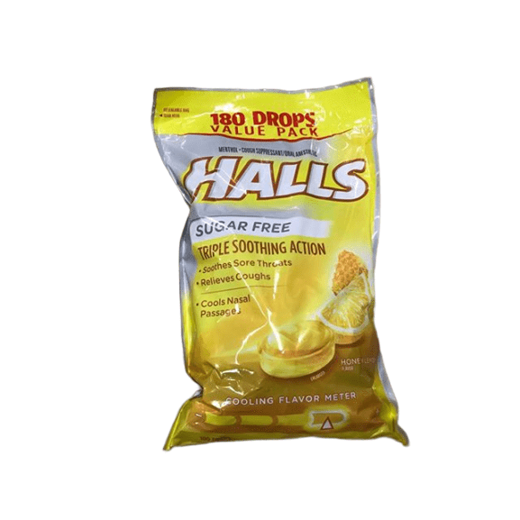 Halls Halls Sugar-Free Honey Lemon Cough Suppressant Drops, 180 ct.