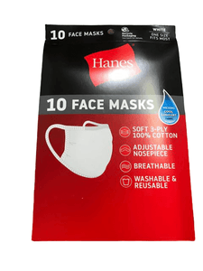 Hanes 100% Cotton Reusable Face Mask, White, 10 Count - ShelHealth.Com