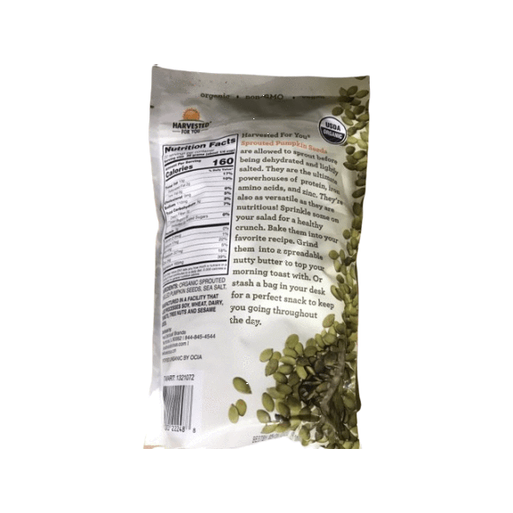 Harvested for You Harvested for You Sprouted Pumpkin Seeds with Sea Salt - 22 oz.