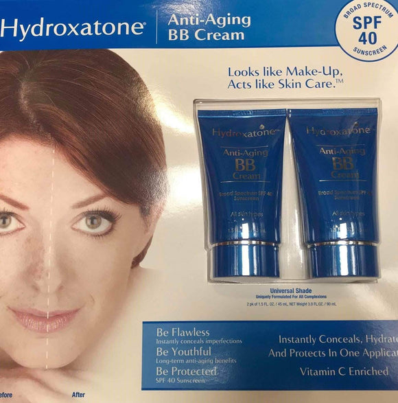 Hydroxatone Hydroxatone Anti-Aging BB (Beauty Balm) Cream, Universal Shade for ALL Skin Types, SPF 40 (Pack of 2, 1.5 ounce bottles)