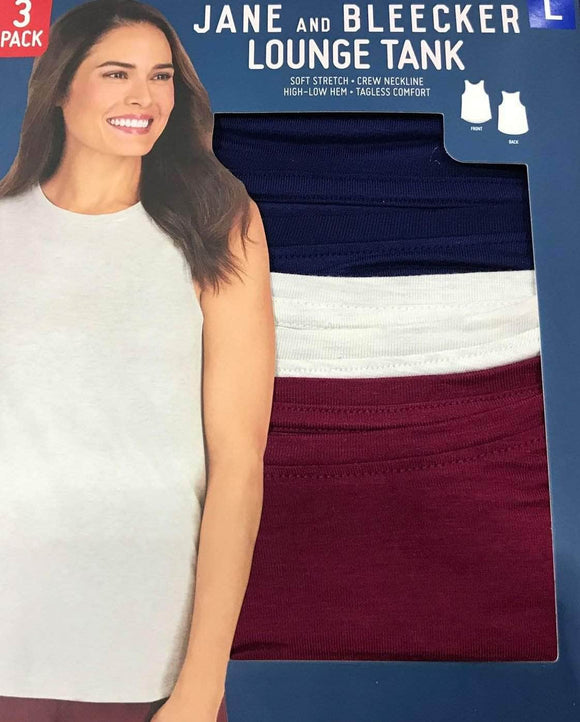 Jane and Bleecker Ladies Lounge Tank, Color Variety, 3-Pack-ShelHealth.Com