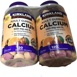 Kirkland Signature Kirkland Signature Chewable Calcium with Vitamin D3 Adult Gummies, 120 ct x 2 Bottles