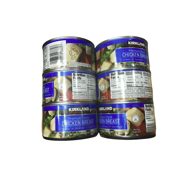 Kirkland Signature Chicken Breast,  Premium Chunk, 6x12.5 Ounce Cans - ShelHealth.Com
