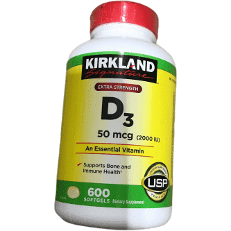 Kirkland Signature Kirkland Signature Extra Strength Vitamin D3 2000 I.U. 600 Softgels, Bottle