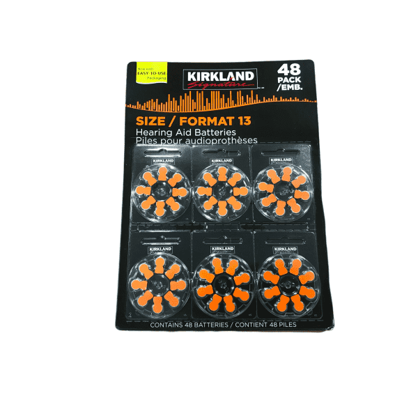 Kirkland Signature Hearing Aid Batteries, Size 13 (48-Pack) - ShelHealth.Com