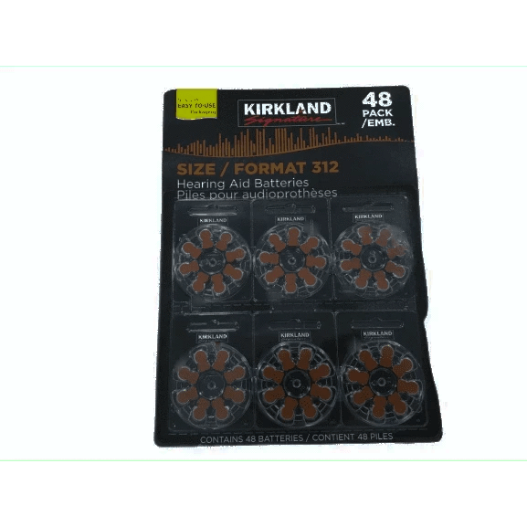 Kirkland Signature Hearing Aid Batteries, Size 312 (48-Pack) - ShelHealth.Com
