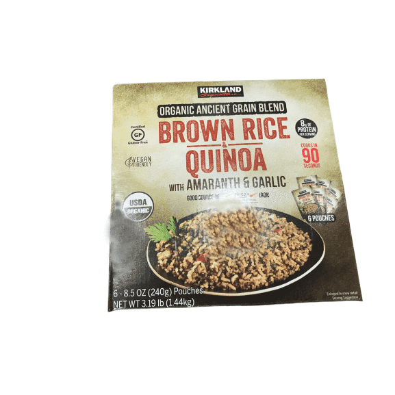 Kirkland Signature Organic Ancient Grain Blend Brown Rice Quinoa w/ Amaranth & Garlic (6-8.5 oz. Pouches) - ShelHealth.Com