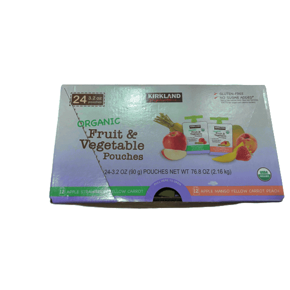 Kirkland Signature Organic Fruit & Vegetable Pouches (24/3.2 Oz Net Wt 76.8 Oz) - ShelHealth.Com