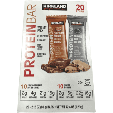 Kirkland Signature Protein Bars, Cookies n Cream & Chocolate Peanut Butter, 20 Count - ShelHealth.Com