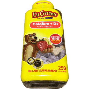 L'il Critters Kids Calcium Gummy Bears with Vitamin D3 Supplement, 250 Ct Gummies - ShelHealth.Com