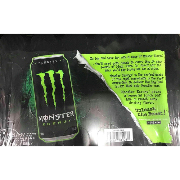 Monster Monster Energy Drink, Green, Original, 16 Ounce (Pack of 24)
