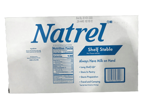 Natrel Shelf Stable No Preservative Milk, 2%, 12 x 32 oz - ShelHealth.Com