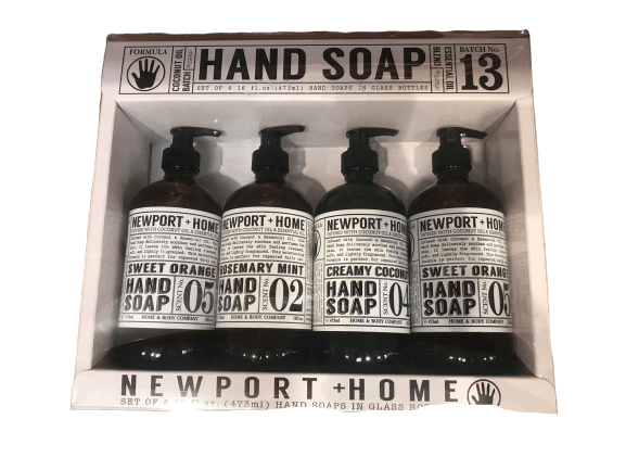Newport Home Hand Soap Collection 16 FL/473ml each Infused With Coconut Essential Oils, Rosemary Mint, Creamy Coconut & Sweet Orange, Set of 4 - ShelHealth.Com