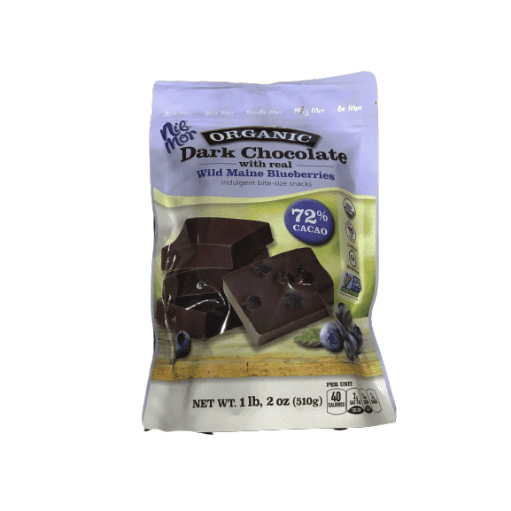 NibMor Organic Dark Chocolate Pieces with 72% Cacao - Wild Maine Blueberries, 18 Ounce - ShelHealth.Com