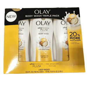 Olay Olay Ultra Moisture Plus Body Wash With Shea Butter, 23.6 Fl Oz X 3 Pack - Total 71 Fl Oz