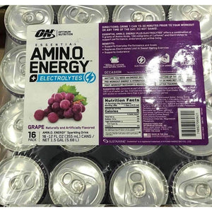 Optimum Nutrition OPTIMUM NUTRITION ESSENTIAL AMINO ENERGY  Sparkling Hydration Drink, Grape, 12 oz. 16 Count