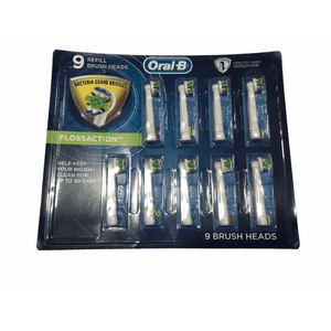 Oral-B Braun Floss Action Replacement Rechargeable Toothbrush Heads Refill (9 Count) - ShelHealth.Com