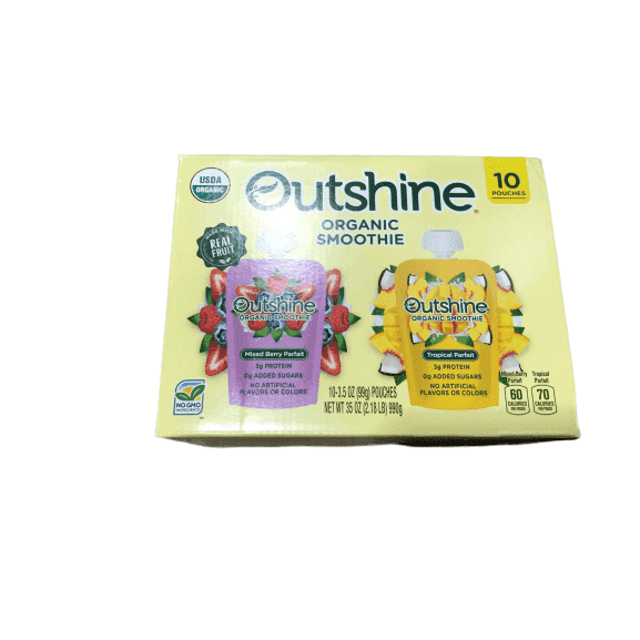 Outshine Outshine Organic Fruit Smoothie Mixed Berry & Tropical, 10x3.5 oz. Pouches