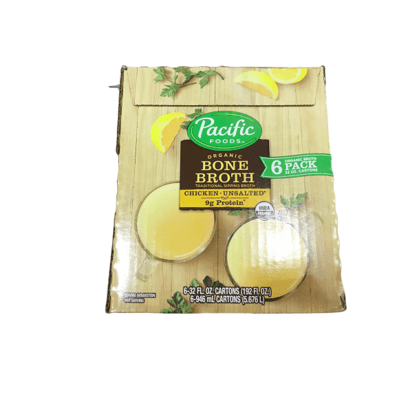 Pacific Foods Pacific Foods Organic Bone Broth, Original Chicken 32oz Cartons, 6-Pack