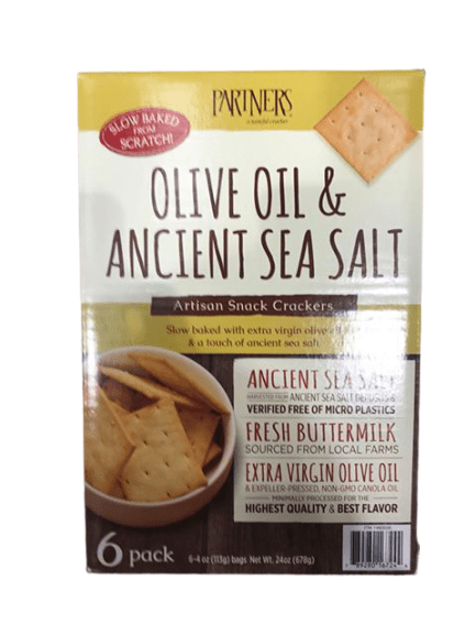 Partners Olive Oil & Ancient Sea Salt, Artisan Snack Crackers, 6 x 4 oz - ShelHealth.Com