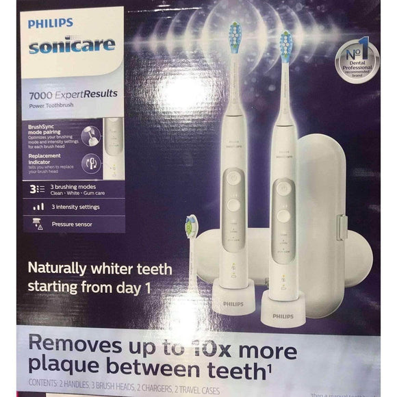 Philips Sonicare ExpertResults 7000 Electric Toothbrush, 2-pack, White - ShelHealth.Com