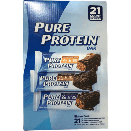 Pure Protein Pure Protein Bars, Chocolate Peanut Butter, Chocolate Chip, Chocolate Deluxe, Variety Pack, 1.76 oz, 21 Count