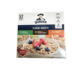 Quaker Instant Oatmeal Variety, 52 ct / 4.75 lb.