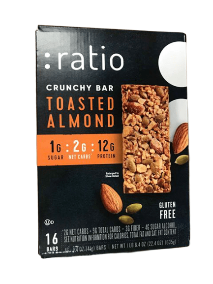 Ratio Crunchy Toasted Almond Bar, 16 Count - ShelHealth.Com