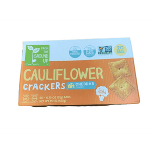 Real Food From the Ground Up Real Food From the Ground Up Cauliflower Crackers - 20 bags, 0.75 oz each (Cheddar, Crackers)
