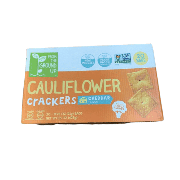Real Food From the Ground Up Cauliflower Crackers - 20 bags, 0.75 oz each (Cheddar, Crackers) - ShelHealth.Com