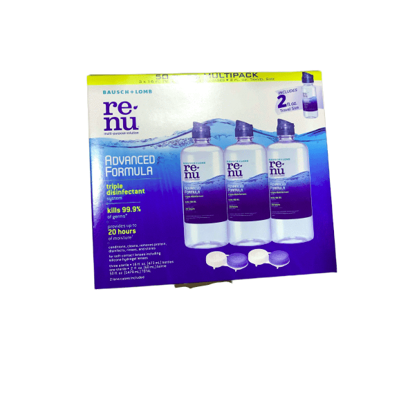 ReNu - Lens Solution, Advanced Triple Disinfect Formula, Multi-Purpose 16 Fluid Ounce (Pack of 3) - ShelHealth.Com