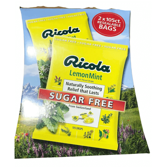 Ricola Herbal Throat Drops Lemon Mint Sugar Free - 210 Drops - ShelHealth.Com