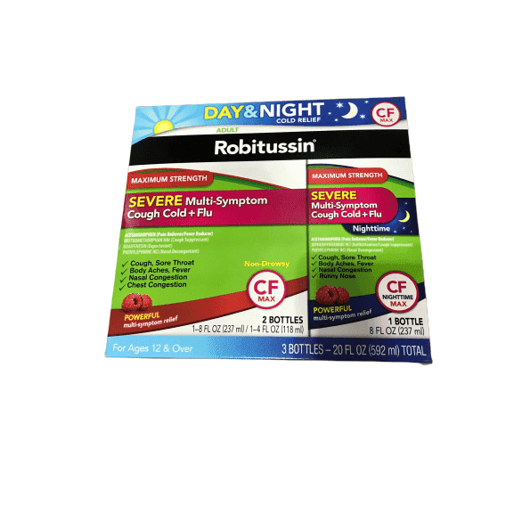 Robitussin CF Max Severe Multi-Symptom Cough Cold and Flu Day and Night, (3 Bottles) 20 oz - ShelHealth.Com