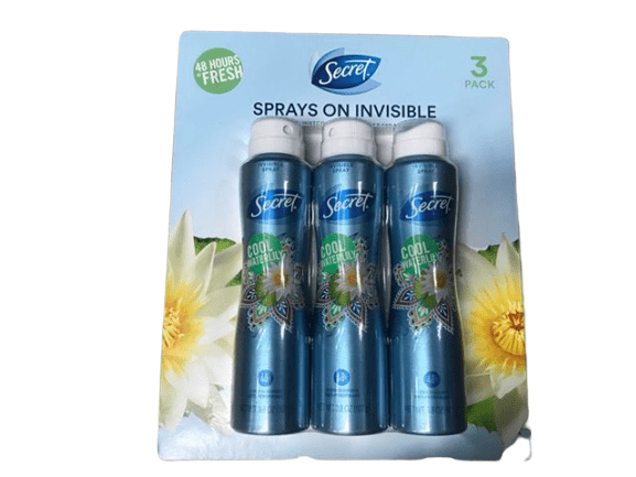 Secret Secret Invisible Cool Waterlily Antiperspirant and Deodorant for Women, 3 pk./3.8 oz.
