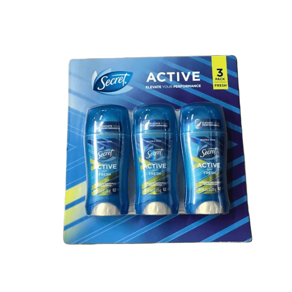 Secret Invisible Solid Active Fresh Antiperspirant and Deodorant 3 pk./2.6 oz. - ShelHealth.Com