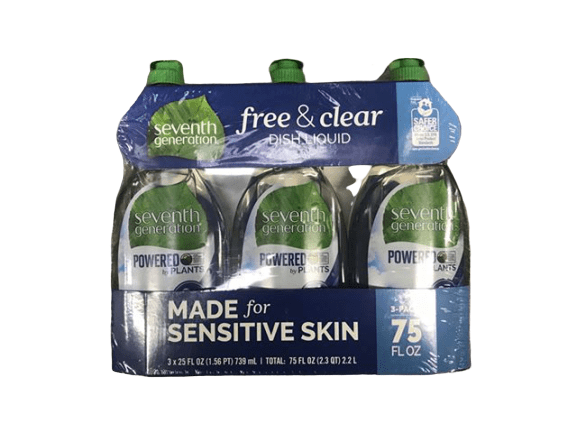 Seventh Generation Seventh Generation Free and Clear Dish Liquid, 3 x 25 oz.