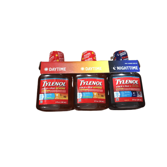 Tylenol Tylenol Cold + Flu Severe Flu Medicine, Liquid Daytime & Night time Cold and Flu Relief, Honey Lemon, 8 fl. oz (Pack of 3)