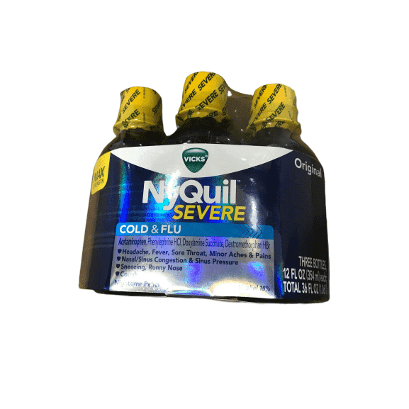 Vicks NyQuil Severe Cold & Flu Liquid Original Flavor Triple Pack 3 x 12 Fl Oz - ShelHealth.Com