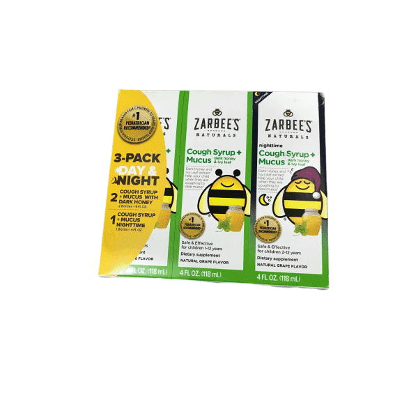 Zarbee's Zarbee's Child Natural Cough Syrup 3-day Pack Day/night  Honey Mucus Relief - 4 oz each (12 oz total)