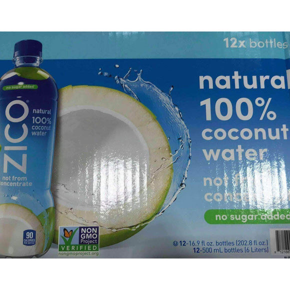 Zico Zico Natural 100% Coconut Water Drink, No Sugar Added Gluten Free, 16.9 fl oz, 12 Pack