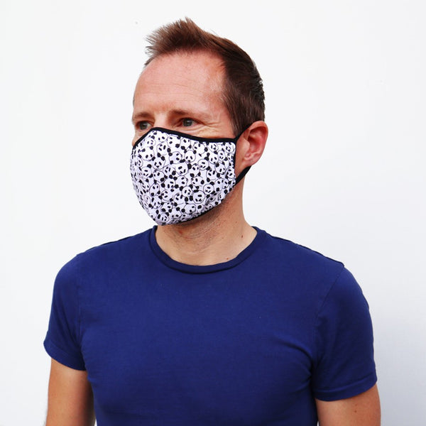 Panda print face mask modelled by an adult male