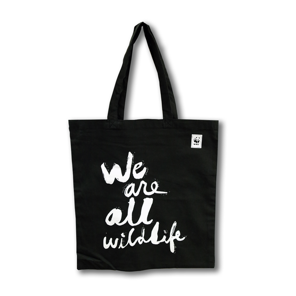 We Are All Wildlife Black Tote Bag