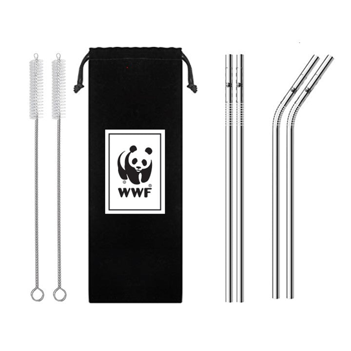 Reusable straw set