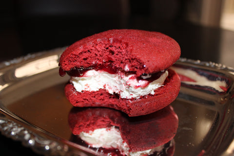 red velvet flavored whoopie pie by cape whoopies