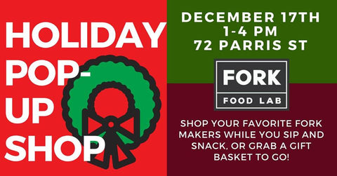 fork food lab holiday pop-up shop invitation