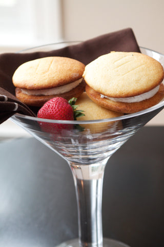whoopie pie assortment in a tall martini glass