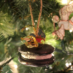 chocolate and vanilla whoopie pie christmas tree ornament