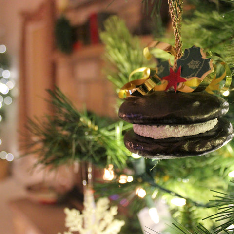 whoopie pie christmas ornament on evergreen tree