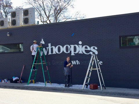 new cape whoopies whoopie pie shop sign being painted